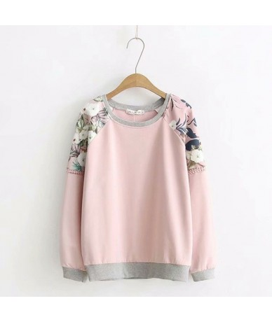Floral Casual Hoodie Women Plus Size 3XL 4XL O-neck Long Sleeve Spring Autumn Sweatshirt KKFY2335 - Pink - 4C3021333448-2