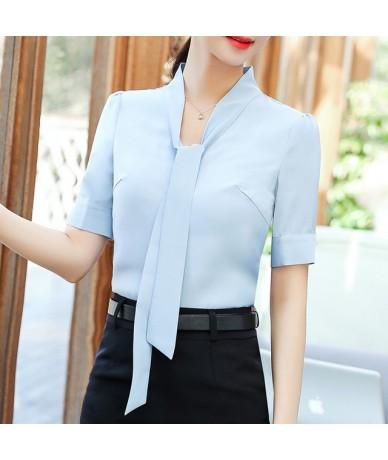 Elegant bow shirt women new fashion clothes New summer slim Half sleeve chiffon Blouse office ladies work wear plus size top...