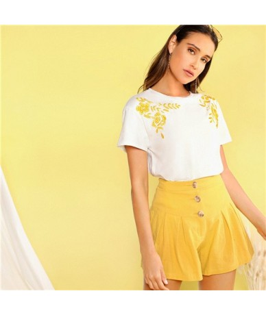 Flower Embroidered Detail Tee Women Clothing 2019 Stretchy Summer Short Sleeve T Shirt Round Neck White Summer Tops - White ...