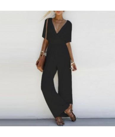 2018 new arrival Women V-neck jumpsuit Ladies Short Sleeve loose wide leg solid Long Jumpsuit romper trousers - Black - 4939...