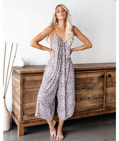 Summer Print Beach Jumpsuit Cotton Holiday Loose Rompers Sleeveless Over Size Jumpsuit - Beige - 4W4122002669-1