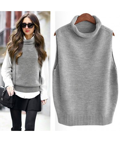 Spring and Autumn New Vest Woman High Collar Curling Sleeveless Sweater Warm Knit Bottoming Shirt Wild Pullover Sweater - Gr...