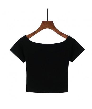 Best Sell Slash Neck Sexy Crop Top Ladies Short Sleeve T Shirt Tee Black White Short T-shirt Basic Stretch T-shirts - Black ...