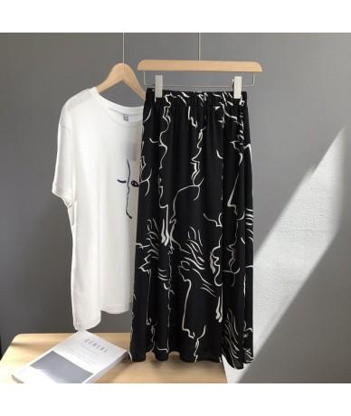 Winter 2019 Woman Skirt Casual Vintage High Printing Chiffon A-line Slim Female Saia - black - 4G3008181902-1