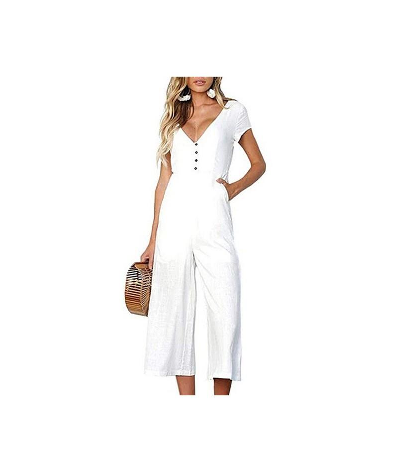 Women Casual Summer Solid Jumpsuit V-neck Pants Suit Summer Short Sleeve Beach Jumpsuit Romper Loose Playsuit it Wide Leg Se...
