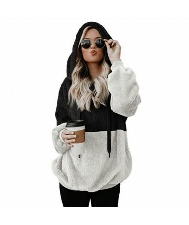 Fashion Women Autumn Long Sleeve Pullover Plush Hoodie Colorblock Loose Fit Zip Sweatshirt GM - Black - 4N4153727183-1