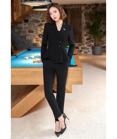 2019 New fashion design pants suits folding hem long sleeve blazer and pants two pieces set formal work wear - black coat an...