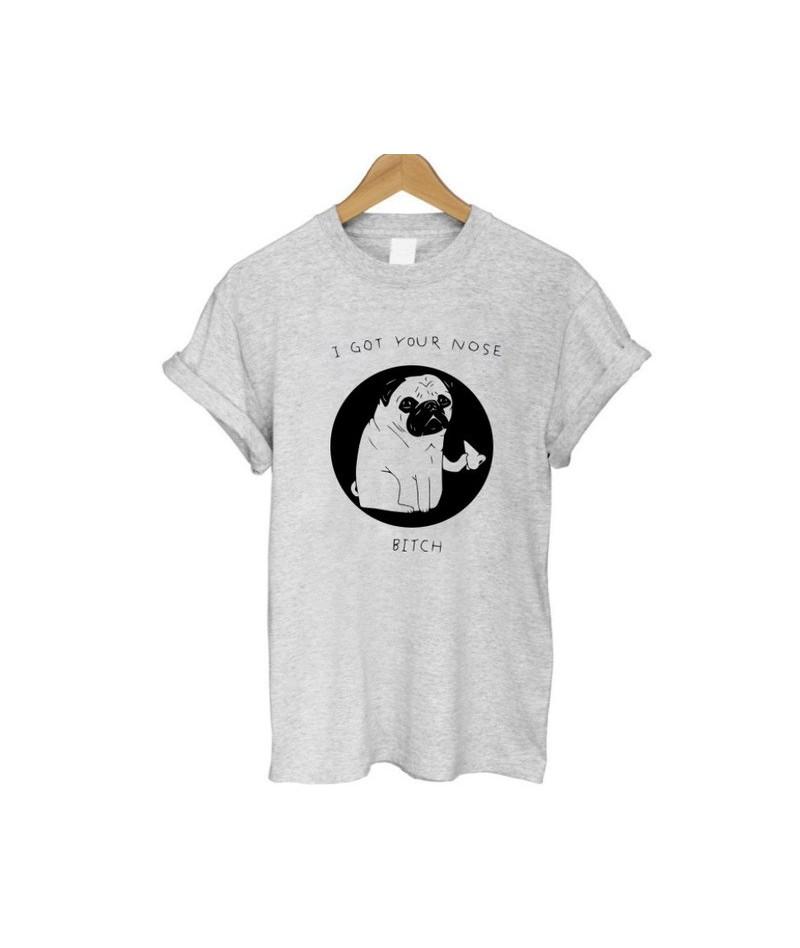 100% cotton short sleeve pug life print women T shirt casual loose women T-shirt summer cool women tshirt - W GREY - 4D39820...