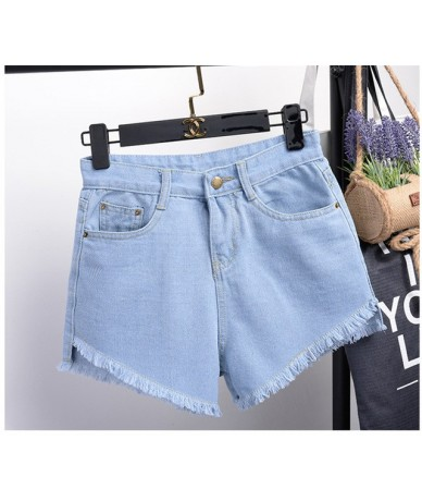 Fashion Women's Jeans Summer Embroidery Pattern High Waist Stretch Denim Shorts Loose Casual Women Jeans Shorts Tassel - as ...