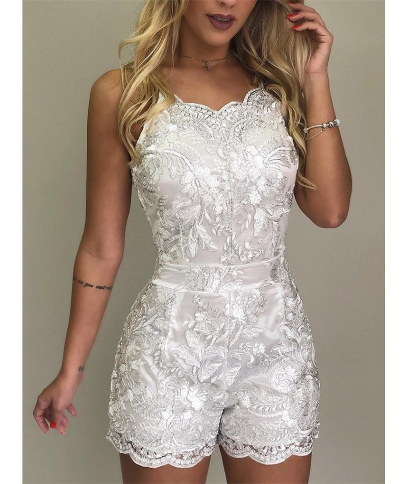 Summer Women Elegant Spaghetti Strap Lace Embroidery Rompers Vacation V-Neck Casual Playsuit Crochet Jumpsuits - 33016366899