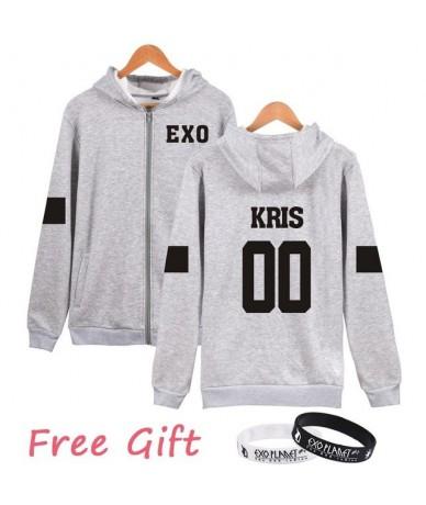 Kpop EXO Number Printed Sweatshirt Women Autumn Winter Casual Fleece Hoodies Zipper hoodie Harajuku Sudaderas Mujer - 00 L -...