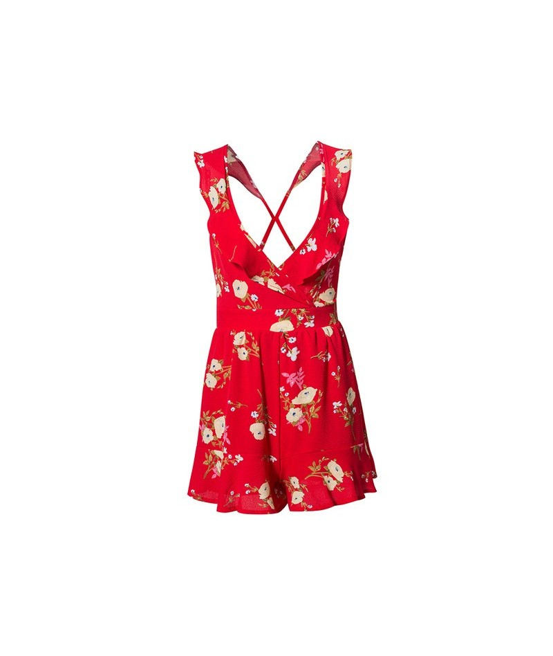 Sollinarry Lace up bow backless red floral print romper Ruffles women playsuits Summer beach short jumpsuits Sexy V neck rom...