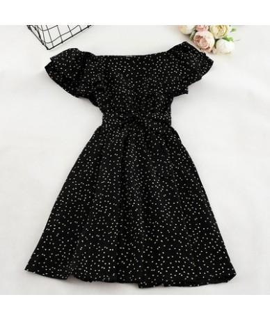Women Floral Dress bohemian A-Line slash neck short sleeves dress summer vintage beach off shoulder Polka Dot Sundress - bla...