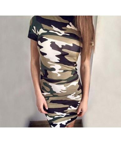 Slim Casual Cartoon Printed Dress Women Cute Camouflage Mini Package Hip Dress 2019 New Summer Short Sleeve Sexy Dress Vesti...