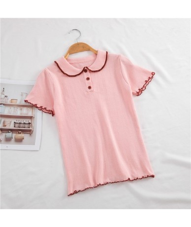 2019 summer new Korean polo collar sweater women's wooden ear short-sleeved shirt Slim shirt tops - 1 - 4X3091559634-1