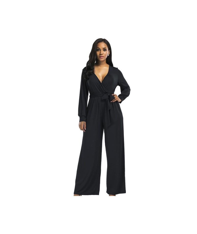 2018 sexy V neck Wide Leg Pants Elegant jumpsuits romper Blue Long Sleeve Plus Size tunic Overalls For Women Combinaison Fem...