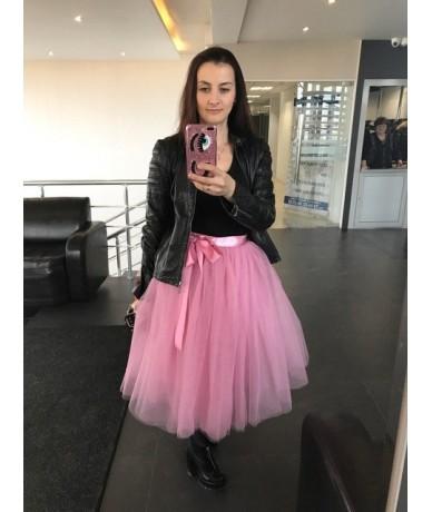 Summer 5 layer 65cm Fashion Midi Mesh Fluffy Soft Tulle Tutu Skirt Pettiskirt Skirt Mother Daughter Skirts - mauve red - 4B3...