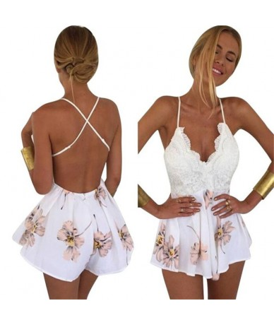 2019 New Fashionable Women Lace Floral Print Sexy V-Neck Strap Sleeveless Jumpsuit Rompers Hot Sale Backless Stitching Plays...