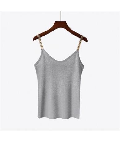 New summer Women Glitter Tank Tops Female V-Neck Knitted Camisole Sleeveless Bling tops Sexy joker solid Vest - Gray - 4U411...