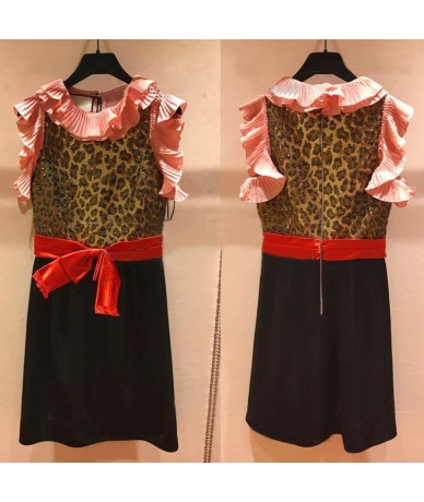 Summer Retro Leopard Dresses Women 2018 European Ruffle Collar Bow Elegant Party Club Patchwork Dresses Plus Size XXL Vestid...