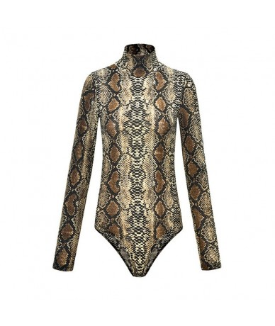 Leopard Bodysuit for Women Sexy Bodycon Skinny Body Suit Turtleneck Long Sleeve Playsuit Printed Romper Jumpsuits - Snake01 ...