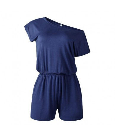 Sexy Off Shoulder Solid Playsuits Summer Casual Short Sleeve Playsuit Women Rompers Shorts 2019 New Fashion Women Clothing -...