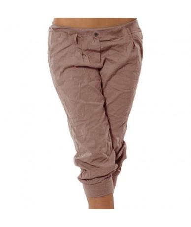 2019 New Fashion Women Summer Solid Women Short Pants Loose Knee Length Trousers Female Soft Chic Elastic Waist Pants - khak...