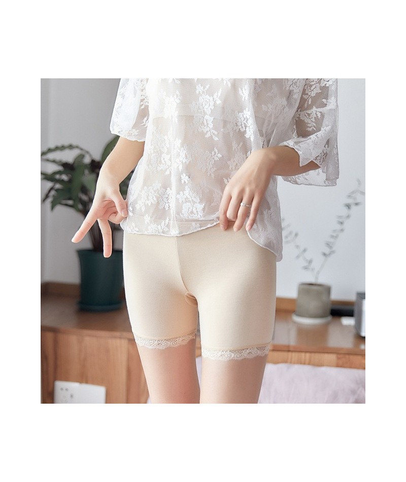 2019 Summer Plus Size Lace Women Seamless Short Pants Trisection Shorts Underpants Girls Slimming Modal Ice Silk - Skin1 - 4...