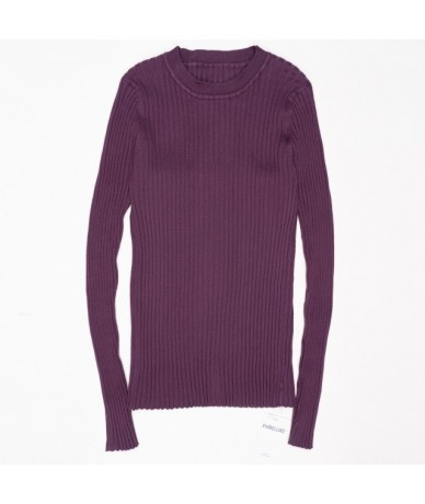 Women Sweater Pullover Basic Rib Knitted Cotton Tops Solid Crew Neck Essential Jumper Long Sleeve Sweaters With Thumb Hole -...