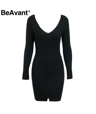 V neck bodycon knitted sweater dress 2018 Sexy split casual long sleeve knitted dress Women autumn winter dresses female - B...