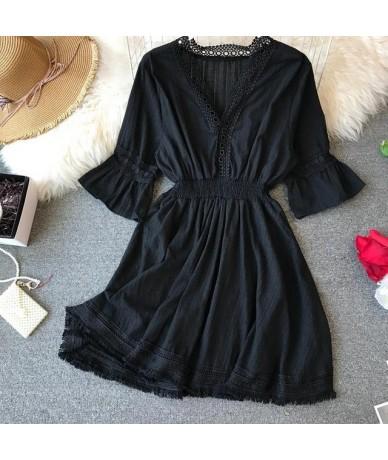 2019 Summer Hollow Out Tassle Beach Dress Women V Neck Butterfly Sleeve Elastic Waist Casual Sexy Club Mini Dresses - Black ...