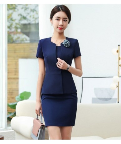 New summer clothes for women two piece skirt set plus size top and skirt office ladies formal workwear uniform - Navy coat a...