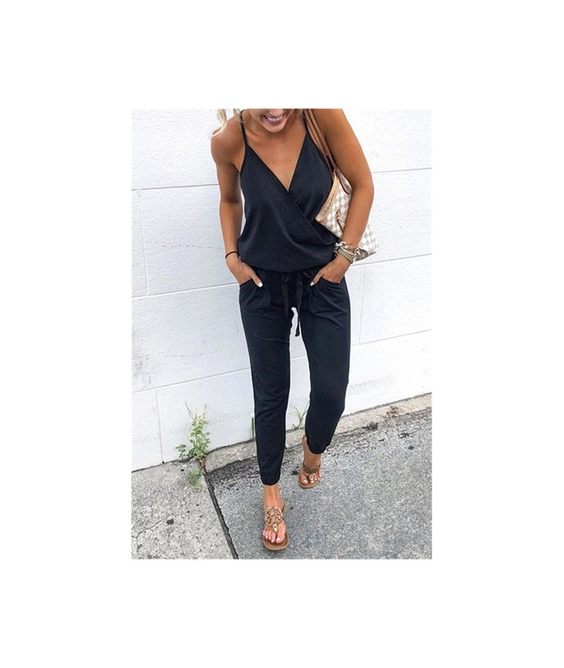New Arrival Sexy Spaghetti Cross Strap Lace Up Jumpsuits Summer Women V Neck Solid Casual Sleeveless Pockets Long Romper Fem...