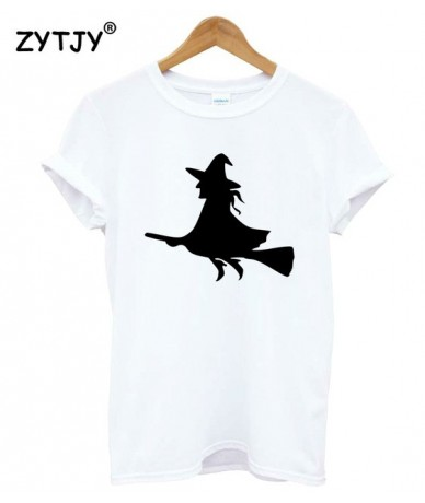 Witch On a Broom Print Women tshirt Cotton Casual Funny t shirt For Lady Girl Top Tee Hipster Tumblr Drop Ship Z-1167 - Whit...