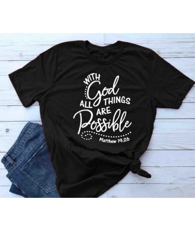 With God all things are Possible Shirt Matthew 19 26 Christian Faith Religious t-Shirt women Bible Verse tee slogan graphic ...