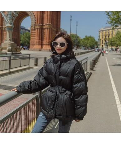 Fashion blue tight waist thick down cotton jacket 2018 winter jacket coat women Plus size hooded warm Female Padded overcoat...