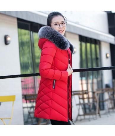 M-3XL long parka Women Big fur collar Hooded Down Jacket Warm Winter Coat Slim Thicken Parker Cotton Outerwear Ladie1010 - R...