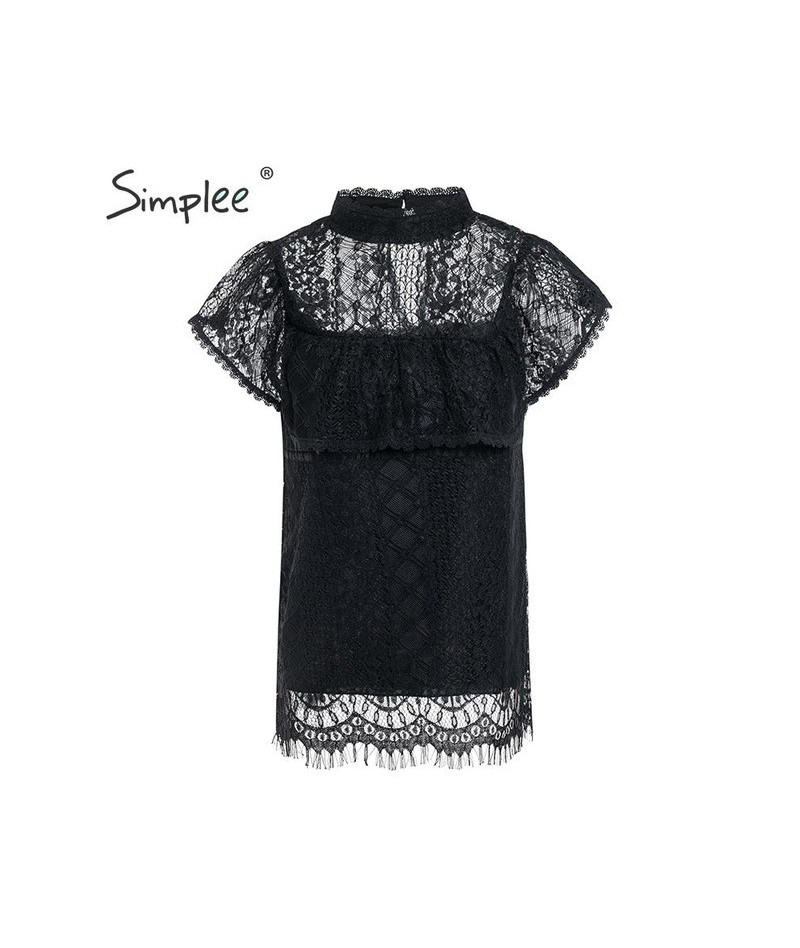 O neck lace hollow out women blouse shirt Embroidery ruffle lining elegant blouses female Summer party blouses and tops - Bl...