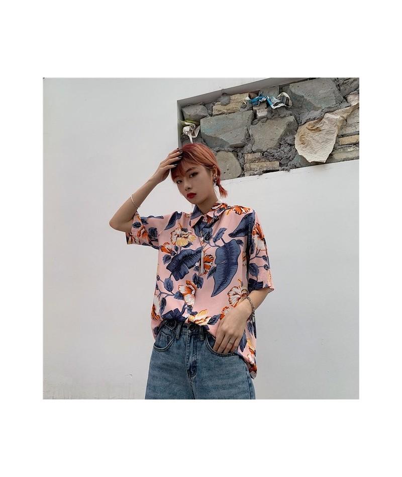 Harajuku Floral Blouse Women Summer Top 2019 Button Up Loose Shirt Short Sleeve Blouses Streetwear Clothes - Pink - 4X309437...