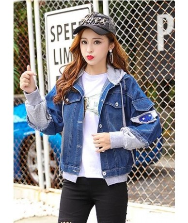 Patchwork Hooded Jackets Women 2018 Autumn Denim Outerwear Hole Causal Jackets Single Breasted Preppy Style Women's clothing...