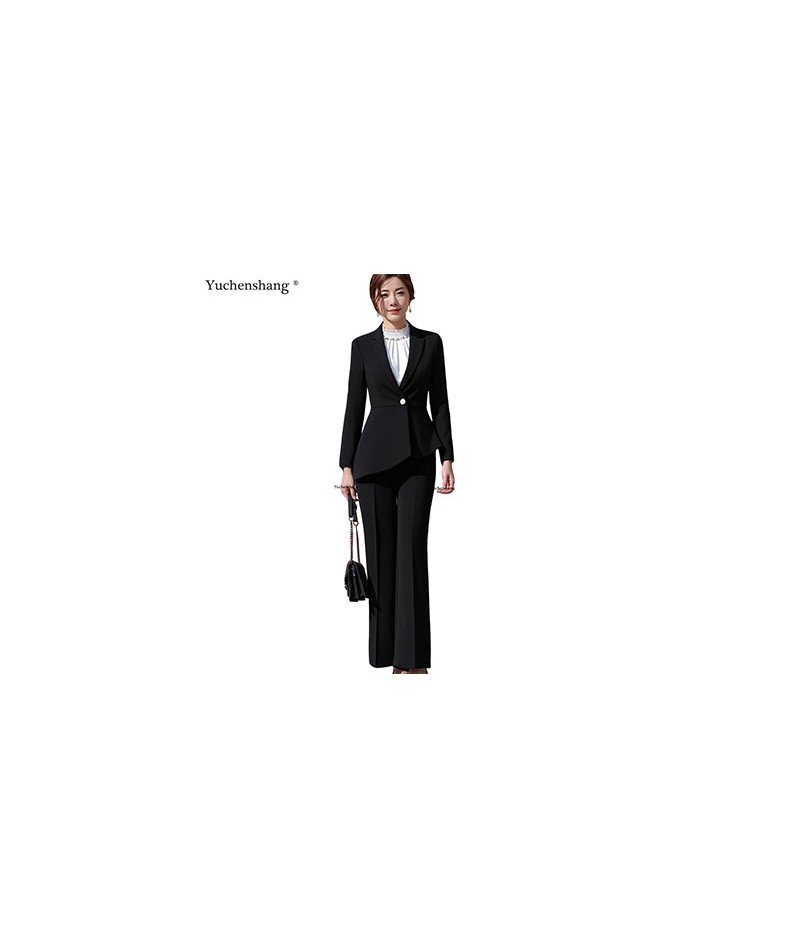 Women elegant pant suit slim fashion formal black white long sleeve symmetrical blazer with trousers office ladies suits 4XL...