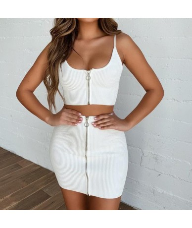 2019 New Summer Women Suit Sexy Vogue White Solid Sling Backless Off Shoulder Crop Top Mini Skirt Beach Sets 9042410 - White...