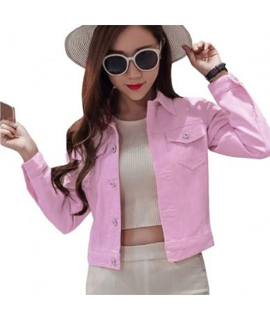 Women Autumn Denim Short Jacket Vintage Streetwear Coat 2018 Female Jean Jacket Blue Long Sleeve Pockets Fashion Jackets Out...