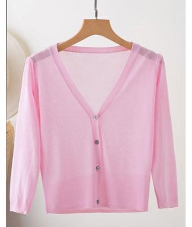 Short Knitted Cardigan Coat Summer Women's Three Quarter V Neck Ice Silk Thin Coats Buttons Women Tops - Pink - 4W3972446231-10