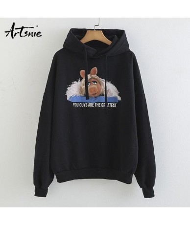 Black Casual Cartoon Hoodies Sweatshirt Women Spring 2019 Long Sleeve Cotton Streetwear Pullover Animal Sweatshirts - Black ...