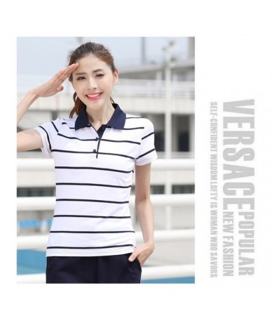 Women Polo Shirt 2018 New Summer Spring Striped Short Sleeve Loose Casual Female Polo Shirts Plus Size Rainbow color Y03271 ...