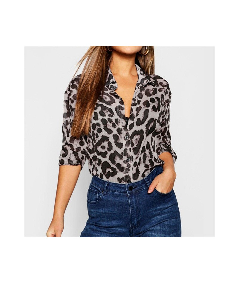 2019 Women Tops and Blouses Long Sleeve Red Leopard Blouse Shirt V-Neck Party Shirts Dames Streetwear Blusas Femininas Plus ...