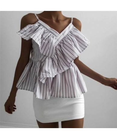 Trendy Women clothes V-Neck Striped sleeveless Tanks Tops off Shoulder strap Summer Ruffle Polyester vest one pieces - Taro ...
