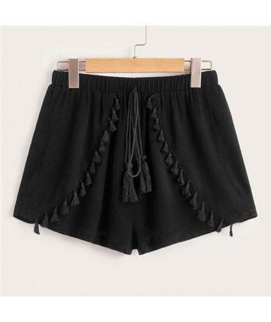 Black Front Fringe Detail Drawstring Waist Shorts Women 2019 Summer Mid Waist Shorts Ladies Solid Casual Shorts - Black - 4N...