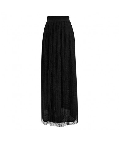 Solid Color Pleated Skirt 2019 High Waisted Long Skirts Womens Maxi Skirt Women School Skirt Beach Female Skirts - BK - 4141...